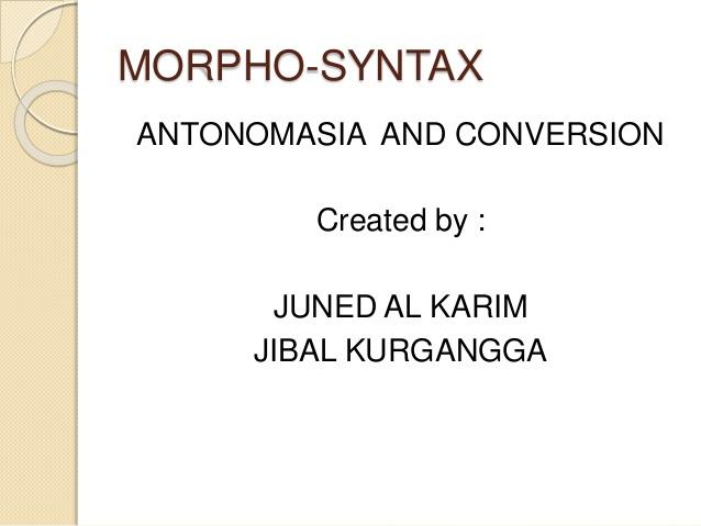 morpho-syntax
