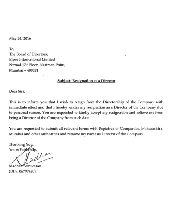 Sample Of Resignation Letter With Immediate Effect from www.liberaldictionary.com