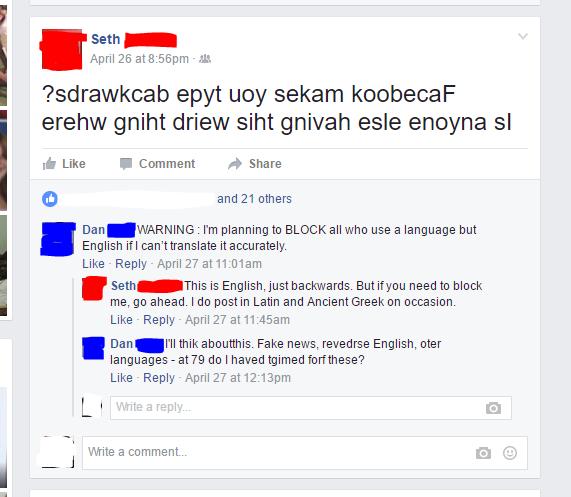 reverse english