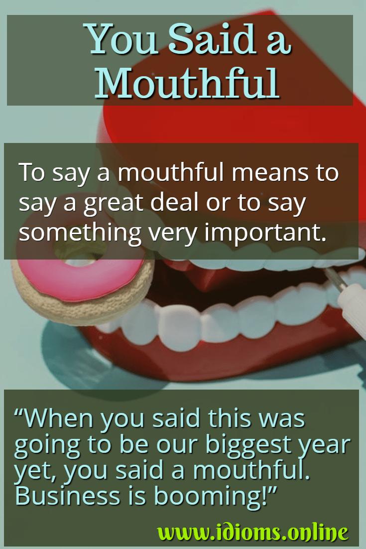 say a mouthful