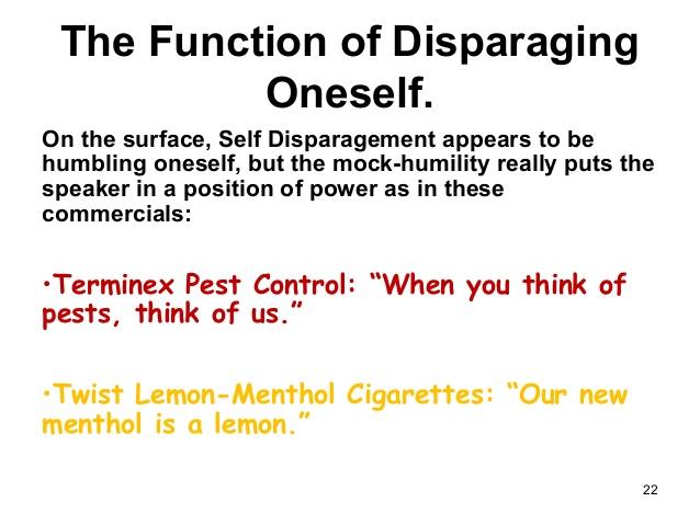 self-disparaging