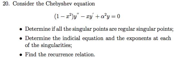 tchebycheff equation
