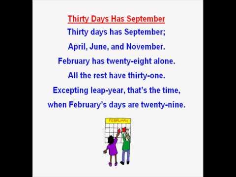 thirty days hath september