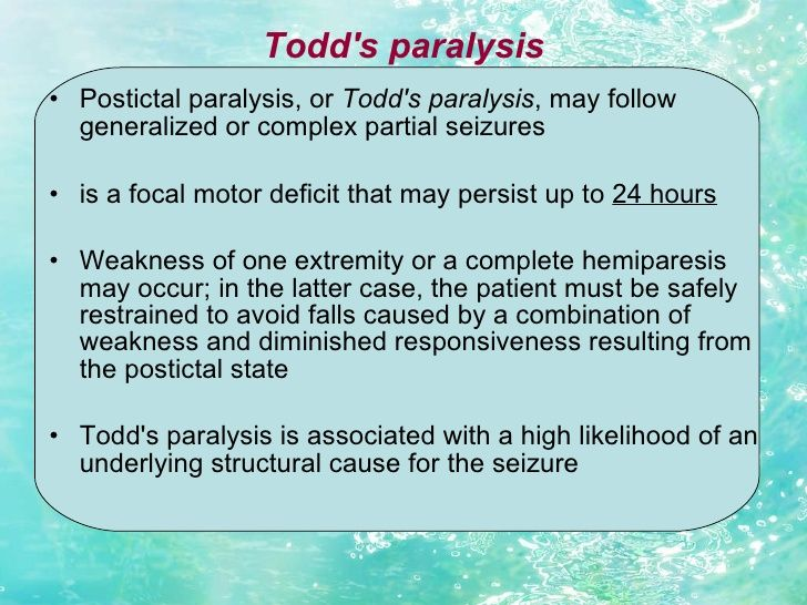 todd's paralysis