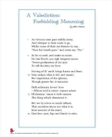 valediction forbidding mourning