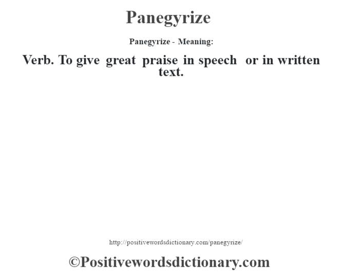 panegyrize