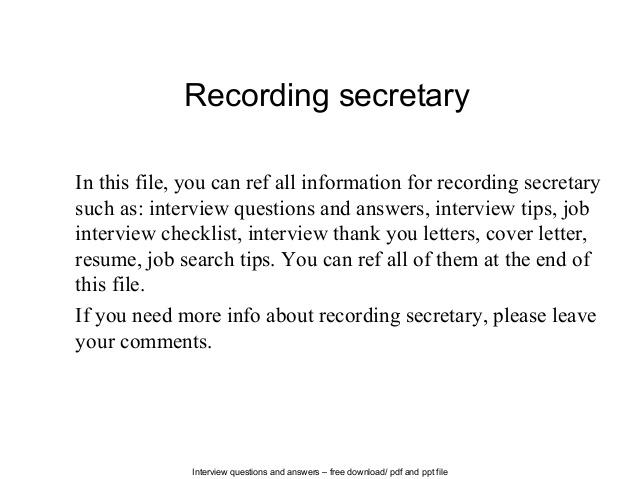 recording secretary