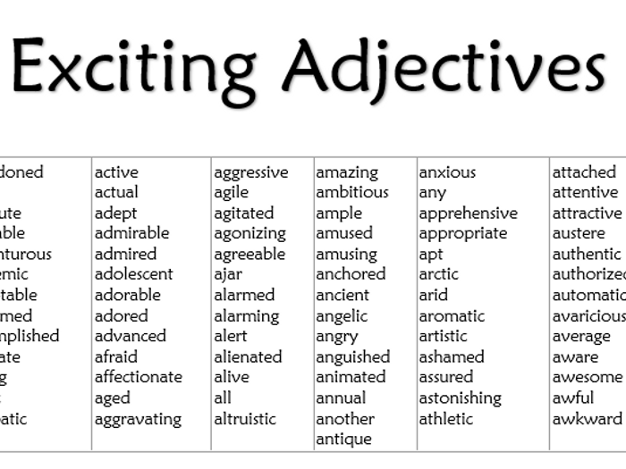 Good adjectives for essays