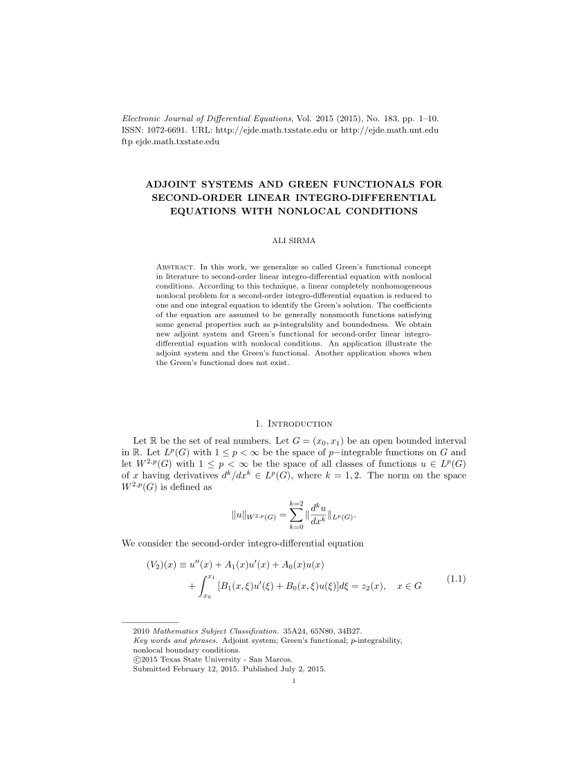 adjoint differential equation