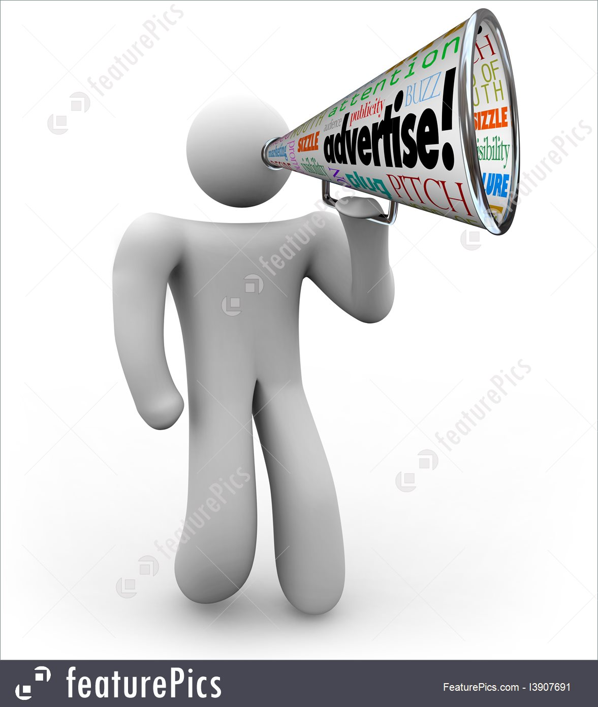 Advertiser With Bullhorn Advertise Word Megaphone Royalty-Free Stock  Illustration