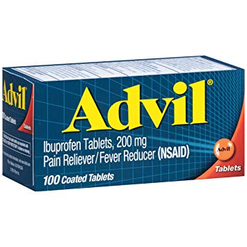 Advil (100 Count) Pain Reliever / Fever Reducer Coated Tablet, 200mg  Ibuprofen,