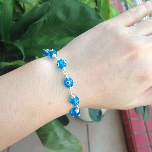 925 Sterling Silver Turkey Blue Evil Eye Amulet Bracelet Crystal Beads Woman  Men Fashion Jewelry Nazar