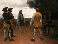 Duels in the Carolean army was strictly forbidden, however, not unusual –  Gustaf Cederström.