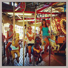 Carousal ride at Funland on the Rehoboth Boardwalk. Adessa, Adilei and  their Aunt Erin