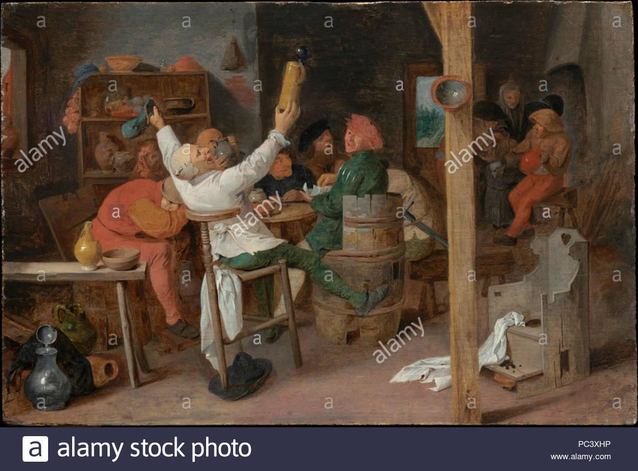Adriaen Brouwer - Carousing Campesinos en una taberna.