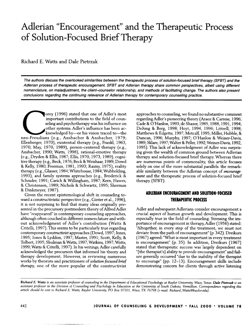"(PDF) Adlerian ""Encouragement"" and the Therapeutic Process of  Solution-Focused Brief Therapy"