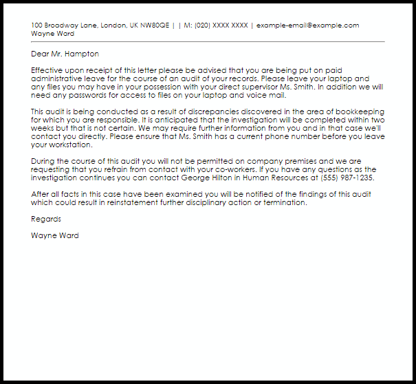 Administrative Leave Letter Example