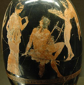 Attic red-figure aryballos painting by Aison ( c. 410 BC) showing Adonis  consorting with Aphrodite