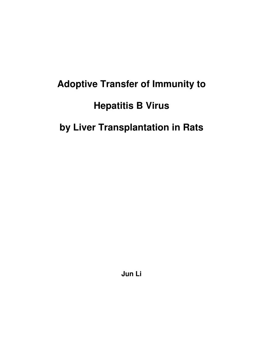 (PDF) Adoptive transfer of immunity to hepatitis B virus by liver  transplantation in rats