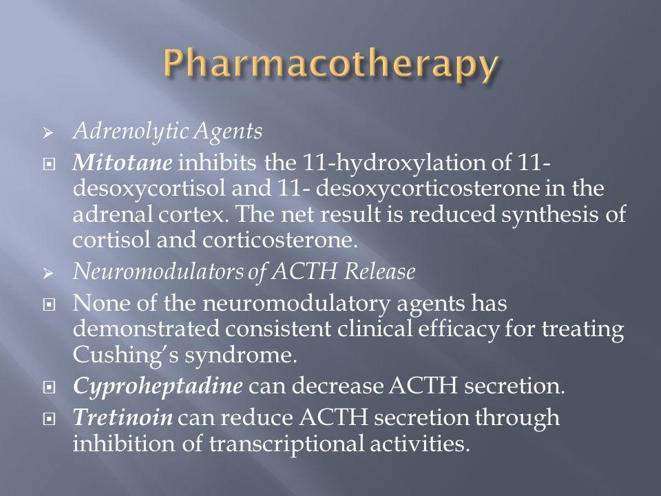 Adrenolytic Agents  Mitotane inhibits the 11-hydroxylation of 11-  desoxycortisol and 11