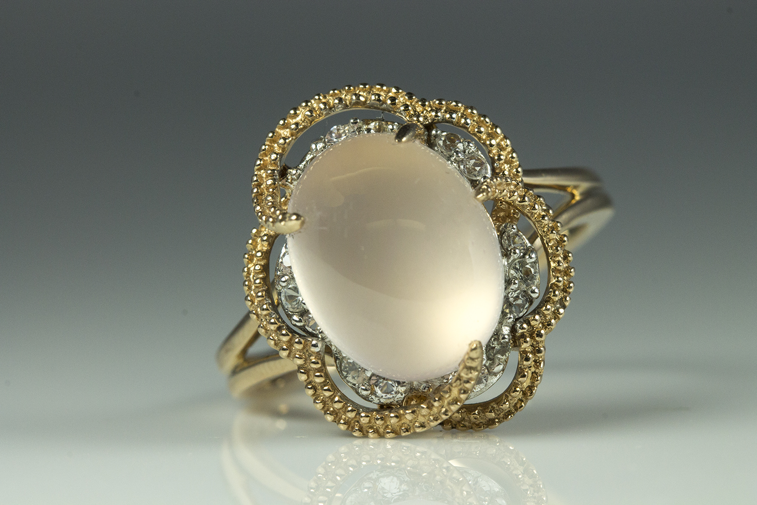 14k Rose Gold Oval Pale Pink Adularescent Quartz Swirl in Floral Style  Beaded Perimeter w/ White Melee Sapphires – E342