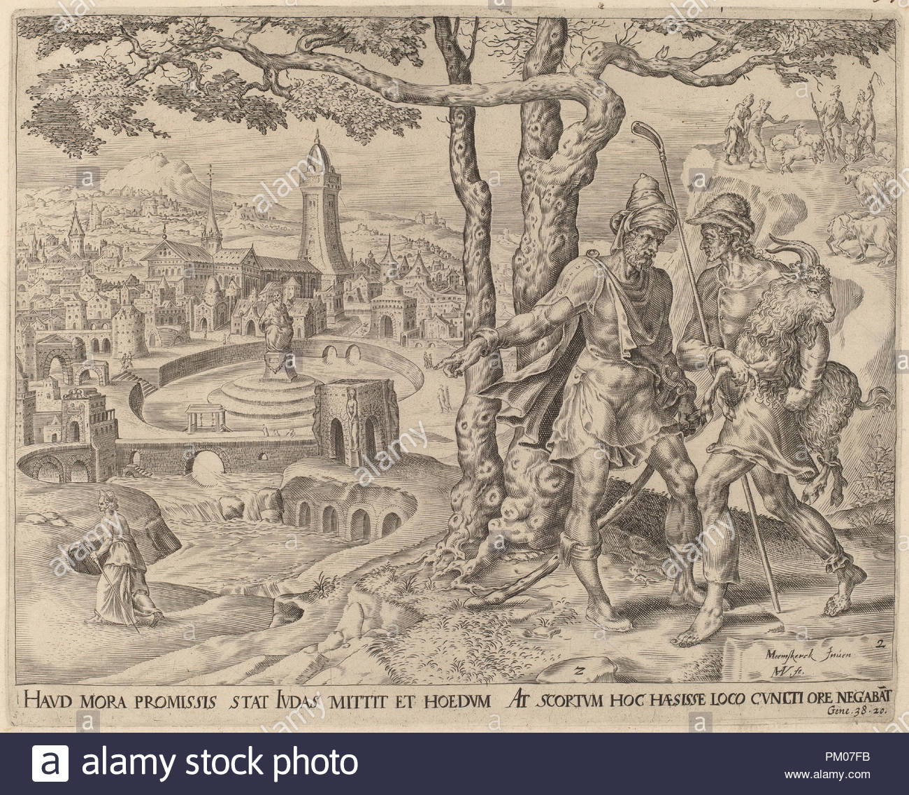 Hirah the Adullamite with the Kid. Dated: c. 1566. Medium: engraving.  Museum: National Gallery of Art, Washington DC. Author: Herman Jansz Muller  after