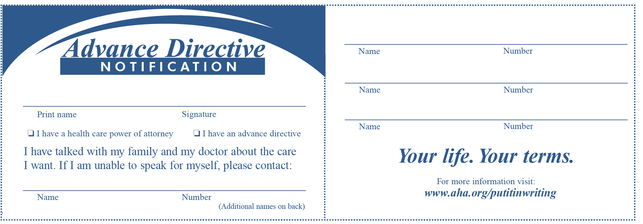 wallet card to indicate advance planning information -- see text