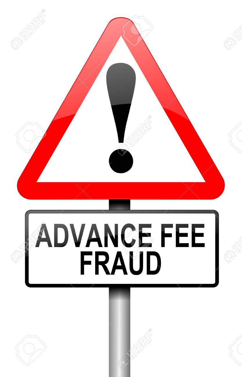 Illustration - Illustration depicting a road traffic sign with an advance  fee fraud concept. White background.