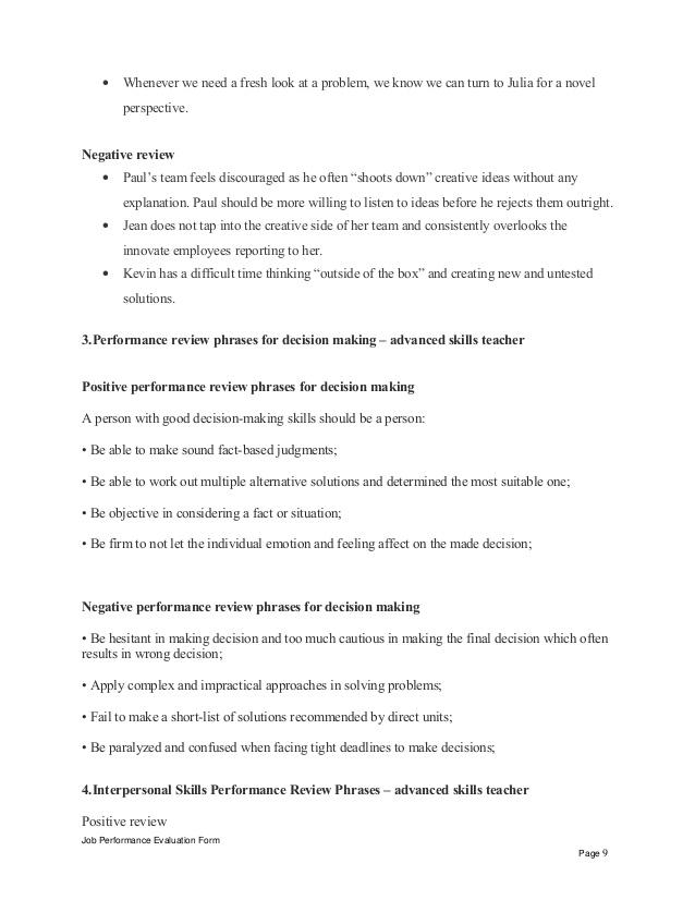 Job Performance Evaluation Form Page 8; 9.