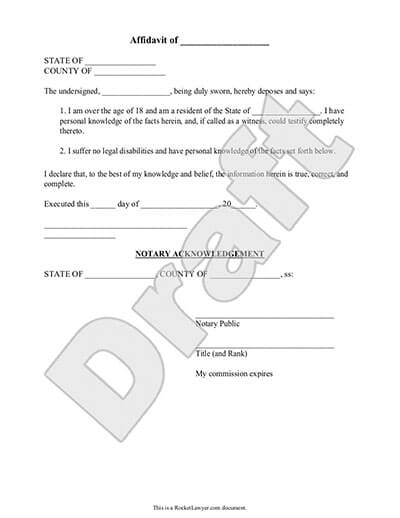 Sample Affidavit document preview