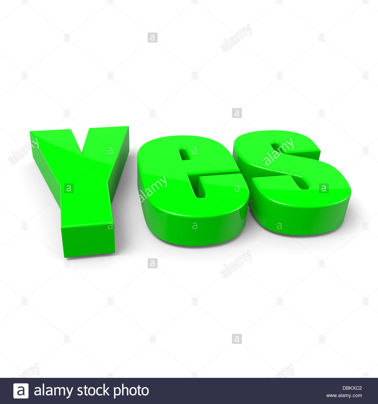 Yes English Green Text on White Background with Shadow 3D Illustration -  Stock Image