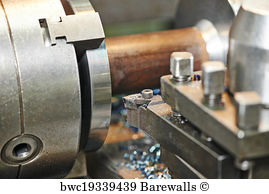 Affixment Art Print Poster - Metal Machining By Turning On Lathe