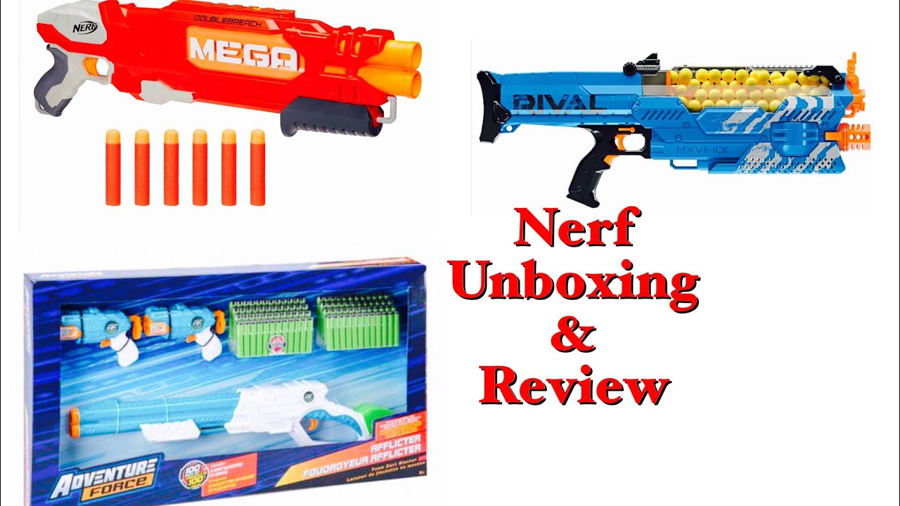Nerf Rival Nemesis MXVII-10k, Nerf Mega DoubleBreach, Adventure  ForceAfflicter open box review 2017