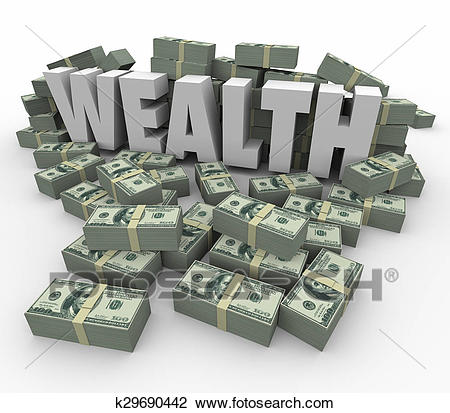 Clip Art - Wealth Word Money Stacks Savings Income Earnings Rich Affluence.  Fotosearch - Search