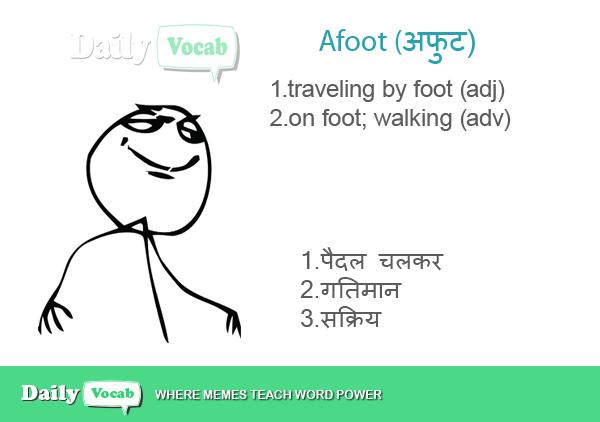 Afoot Hindi English meaning