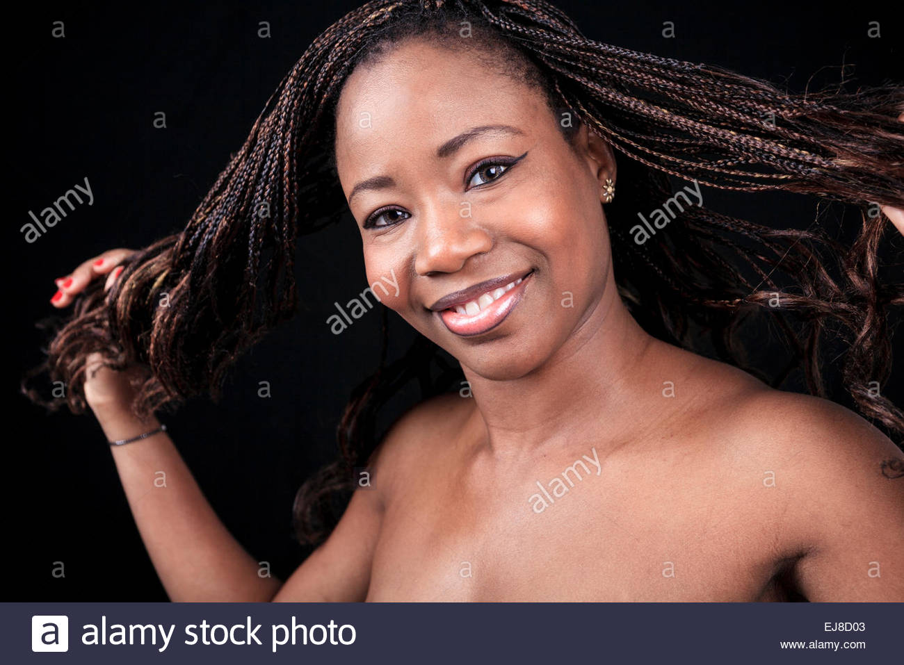 aframerican woman over a black background