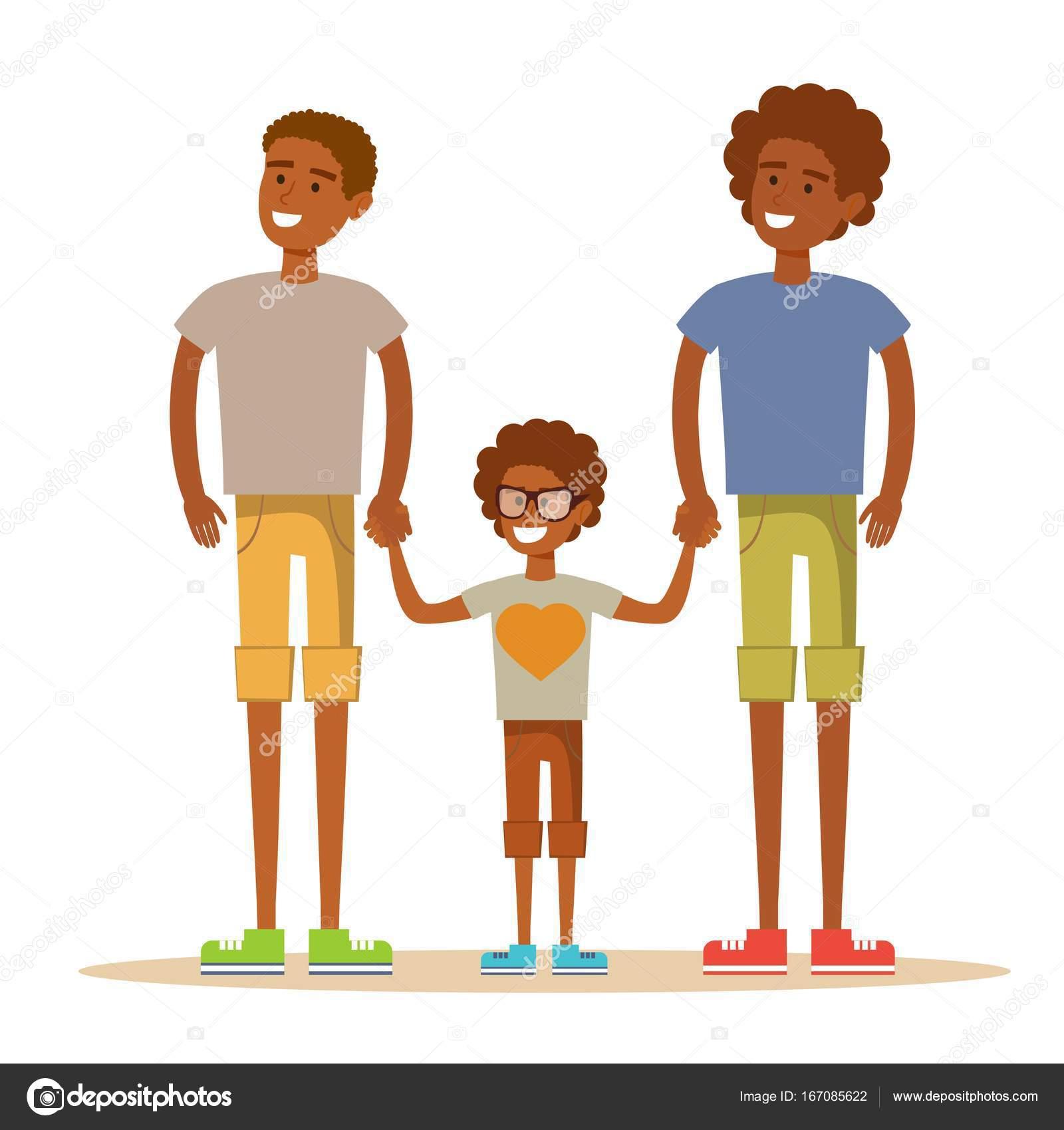 Feliz Aframerican los hombres gay posando con su hijo — Vector de stock