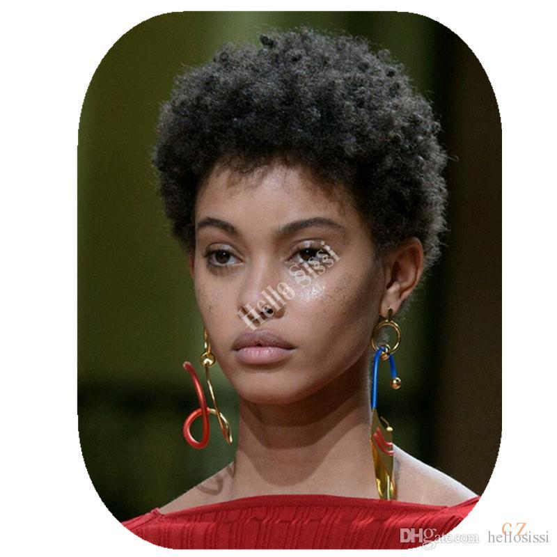 Short African American afro kinky curl Wigs Curly Bob Wigs pixie cut short  wig Women Fashion Curly Wigs