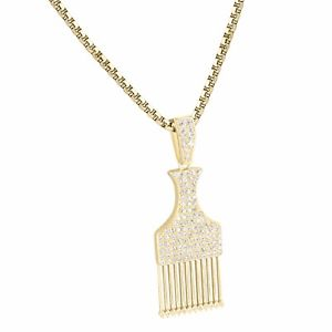 Image is loading Pick-Comb-Afro-Pendant-14k-Gold-Finish-Chain-