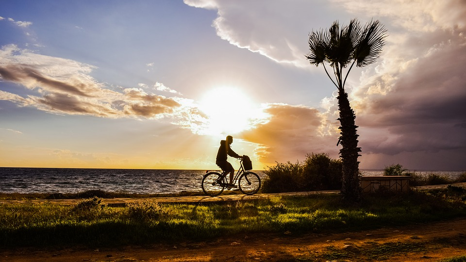 afternoon landscape scenery path man bike light