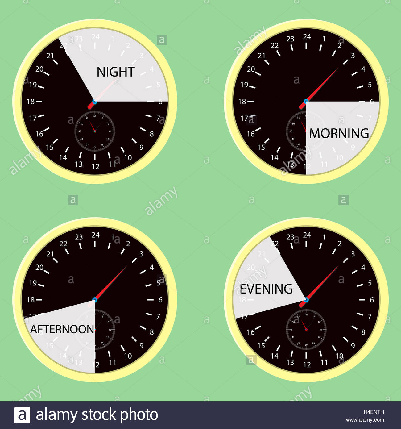 Clock hours, time of day morning, afternoon, evening, night. Watch cycle  icon, day and night. Vector illustration