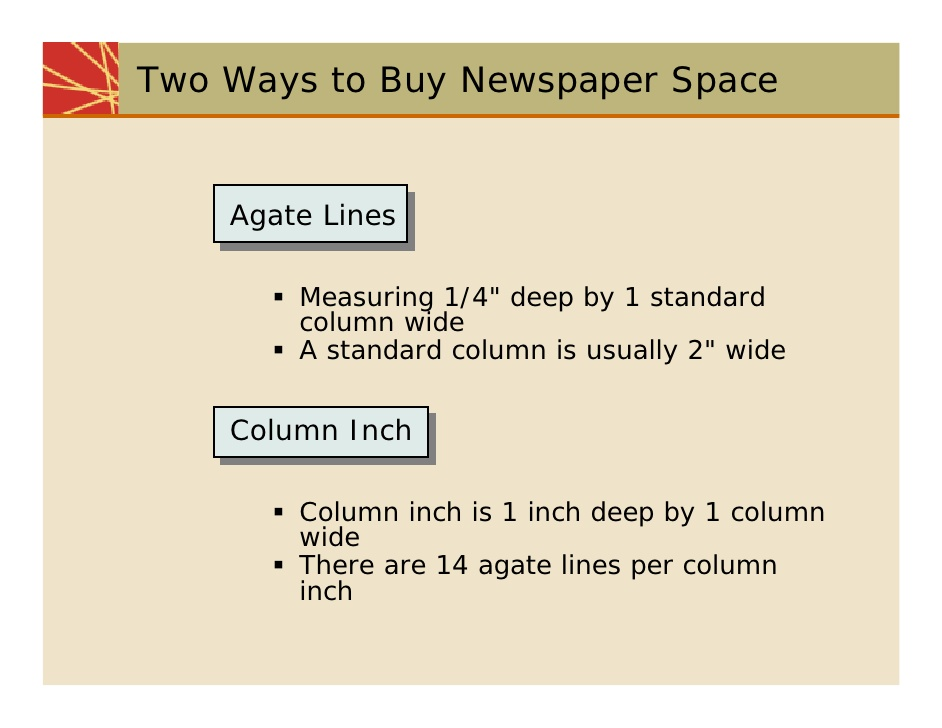 overlapping circulation; 20. Two Ways to Buy Newspaper Space Agate Lines