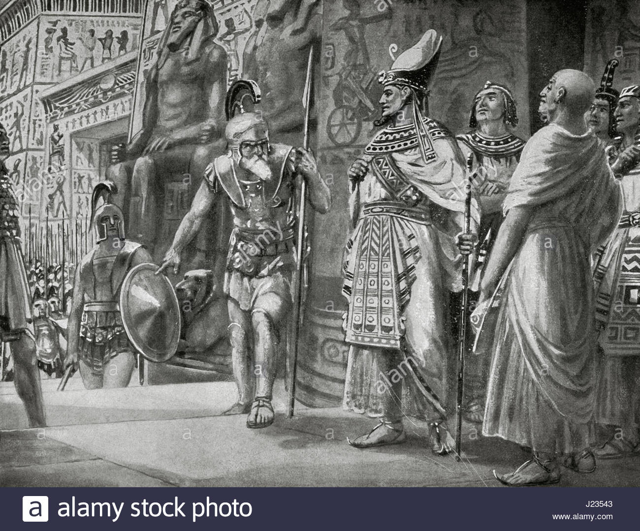 Agesilaus II (c. 444- c. 360 B.C.), king of Sparta (400-360 B.C.), and the  Athenian general Chabrias with mercenaries come into help the king  Nectanebo I