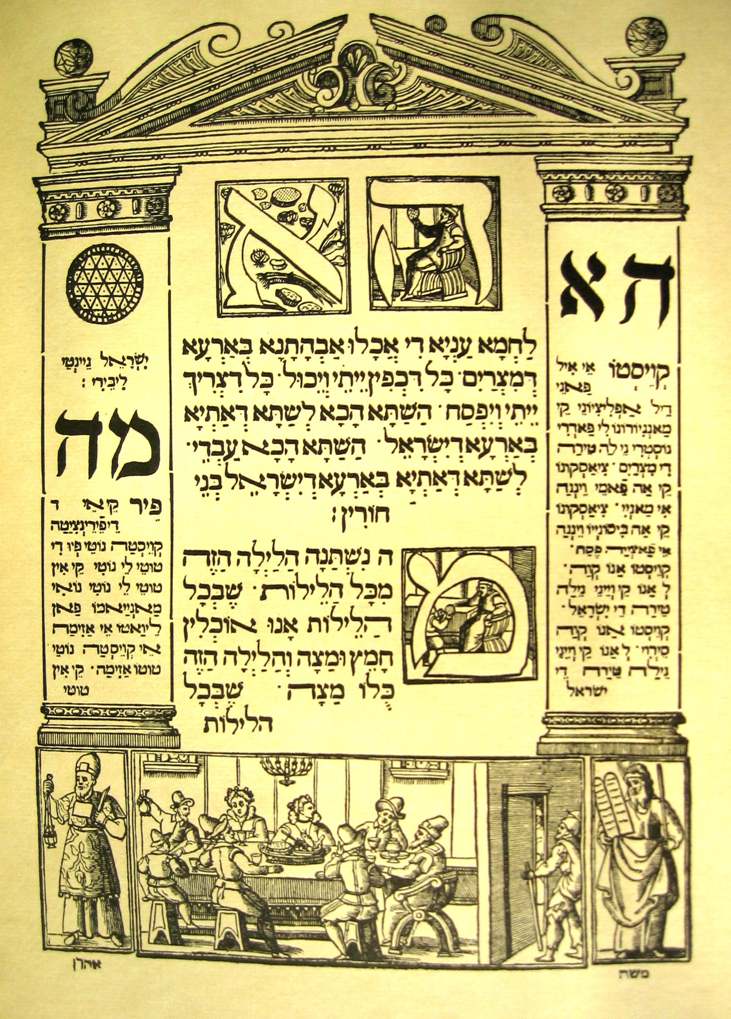 The illustrations on this page accompany the text that begins the seder.  The leader points to the matzah (unleavened bread) and recites in Aramaic,