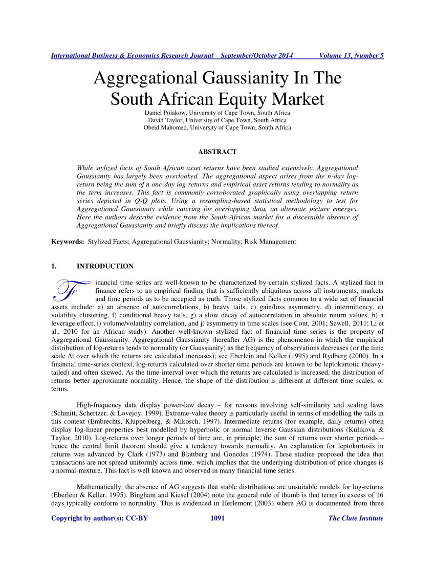 (PDF) Aggregational Gaussianity In The South African Equity Market