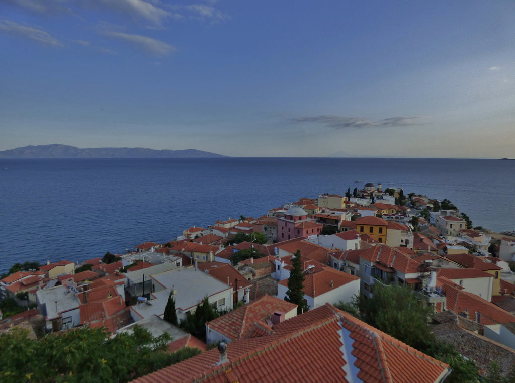 The Island of Thasos from Kavala, Eastern Macedonia and Thrace, Greece  - August 2014