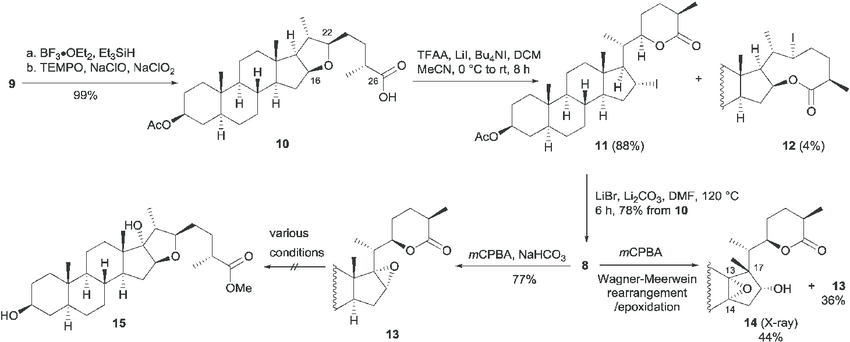 Scheme 2 Synthesis of the aglycon of aspafiliosides E and F by the  ring-opening