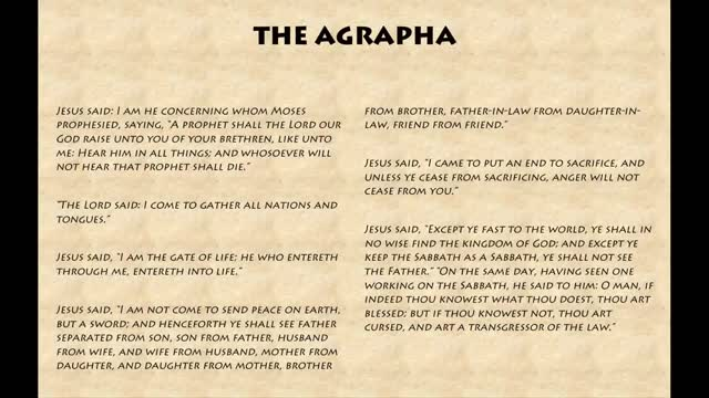 Watch The Agrapha - The Scattered Words of Jesus (Comparable to the Gospel  of Thomas