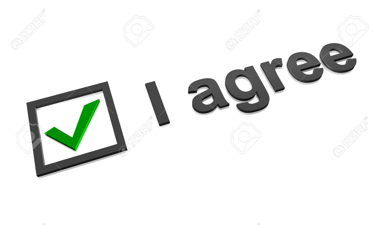 I agree checkbox with green check mark Stock Photo - 8522590