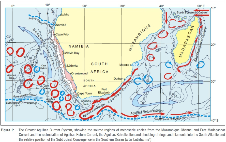 to the South African east coast, the Greater Agulhas Current System  consists of three main components: the Agulhas Current, the Agulhas Return  Current,